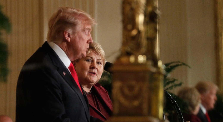 Trump sai quase verde de reunião com primeira-ministra da Noruega