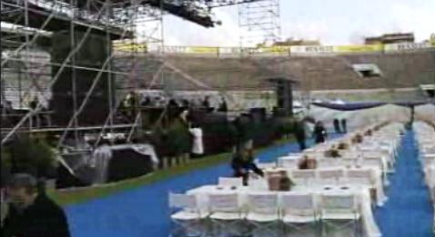 Preparativos para o concerto de Sinatra