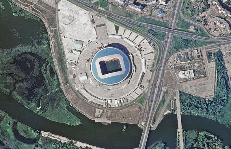 Localizado em Kazan, com capacidade de 45.000 lugares /Foto: ROSCOSMOS via Reuters