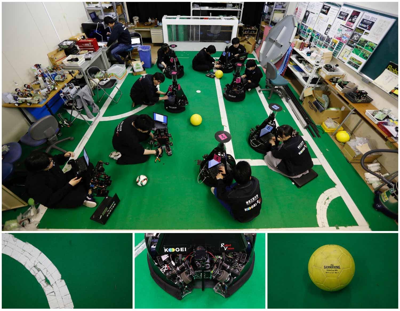 A tecnologia avançada do Japão chegou também ao futebol. Na imagem vemos um grupo de estudantes a trabalhar com robots de futebol no Laboratório de Visão Robótica na Universidade Politécnica de Tóquio, em Atsugi. Foto: Toru Hanai - Reuters