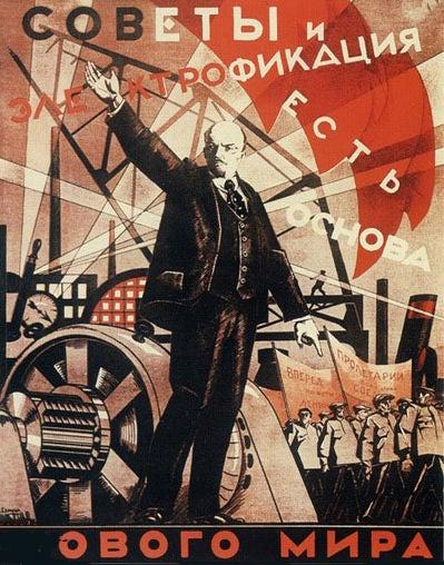 """""""Os sovietes e a eletrificação constroem o novo mundo"""". Alexander Samokhvalov, 1921"""