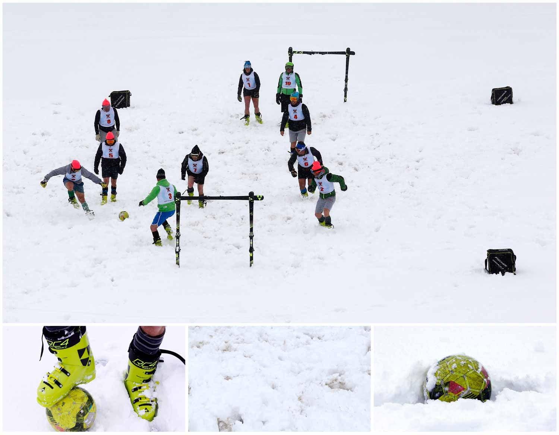 As baixas temperaturas de Sestriere, na Itália, não parecem ser um entrave para a prática de futebol. Na imagem vê-se um grupo de professores de um clube de ski a praticar o desporto que só é possível a usar botas próprias de ski. Foto: Stefano Rellandini - Reuters