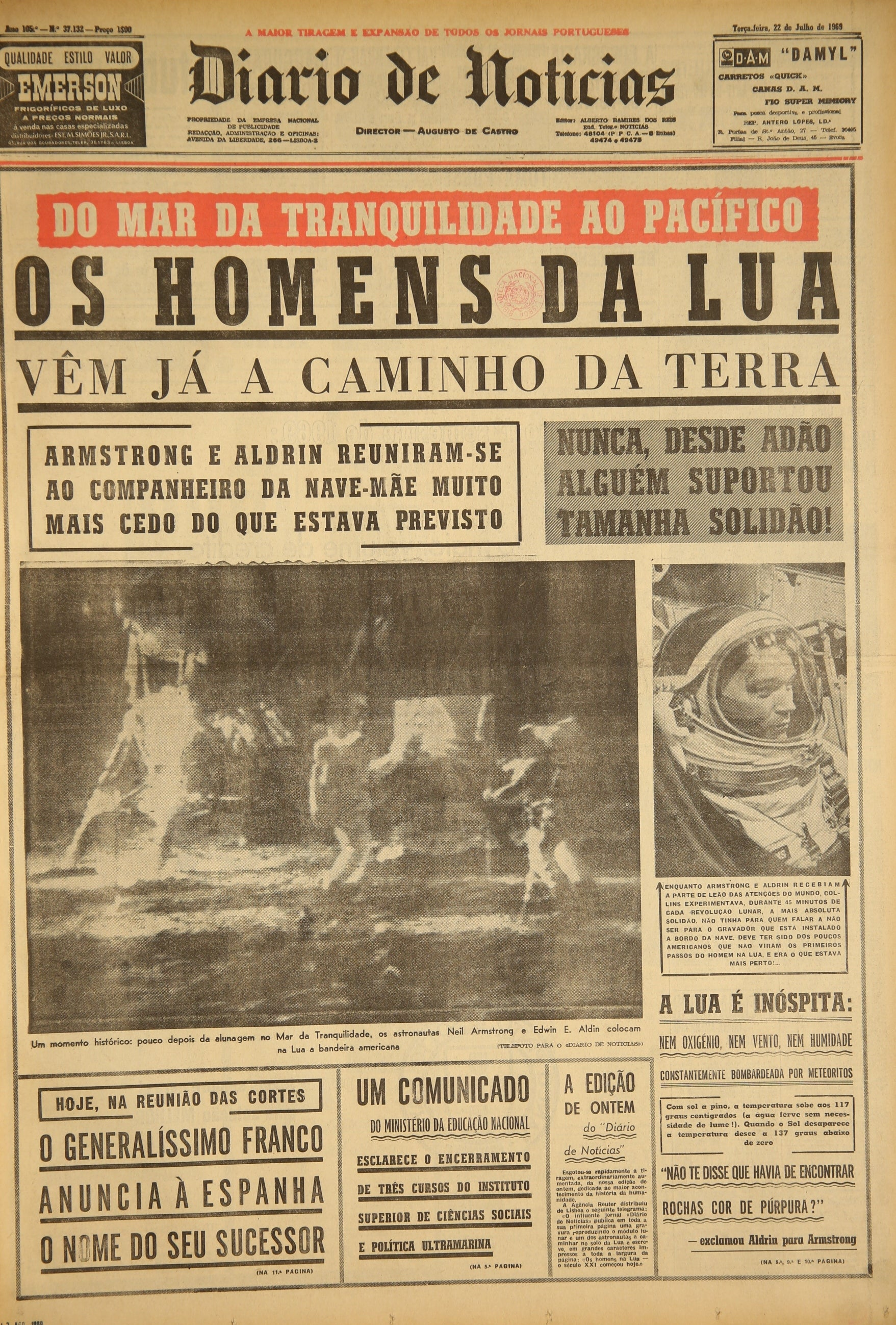 """Jornal """"Diário de Notícias"""" (22 julho 1969)"""