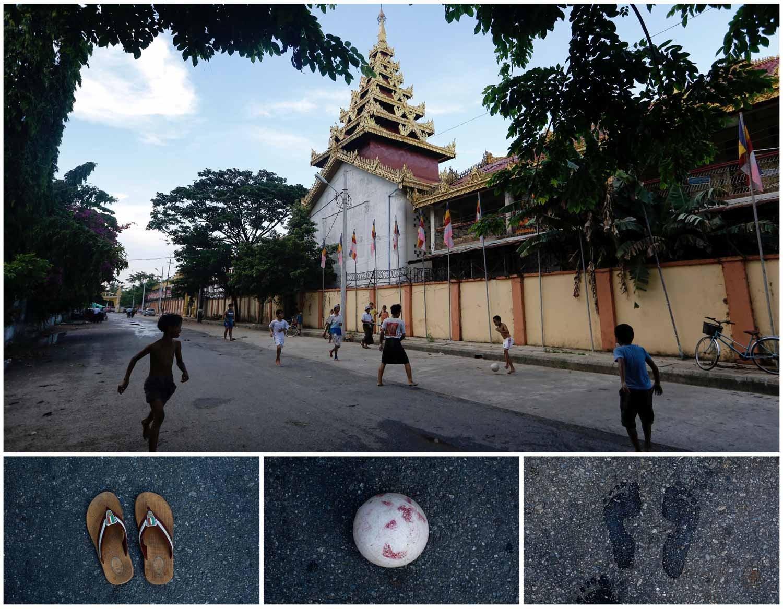 A combinação de imagens mostra várias crianças a jogar futebol numa rua na cidade de Rangum, em Myanmar, em frente ao templo de Botataung. Foto: Ann Wang - Reuters
