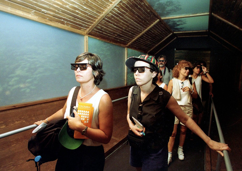 No pavilhão da Colômbia havia um corredor com projeções 3D do rio Amazona. /Foto: JR/EB via Reuters