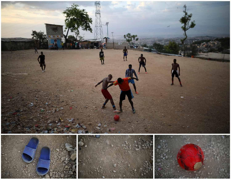 A combinação de imagens mostra um grupo de jovens a jogar futebol de sandálias num campo de terra em Porto Príncipe, capital do Haiti. Foto: Andres Martinez Casares - Reuters