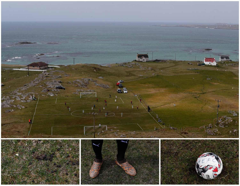 Em Eriskay, uma ilha da Escócia, um grupo de pessoas joga futebol num campo junto ao mar. Foto: Russell Cheyne - Reuters