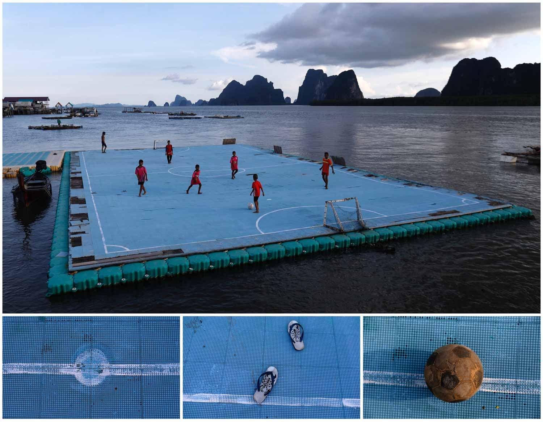 Na vila de pescadores Ko Panyi, na Tailândia, as casas estão assentes sobre o mar e o futebol também se joga num campo flutuante. Na imagem vê-se uma combinação de fotografias onde está um grupo de crianças a jogar futebol na plataforma com chinelos de dedo calçados. Foto: Soe Zeya Tun - Reuters