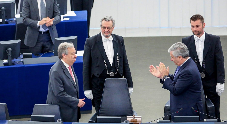 Visita oficial do Secretário-Geral da ONU, António Guterres, ao Parlamento Europeu em 2017 / Fonte: Parlamento Europeu