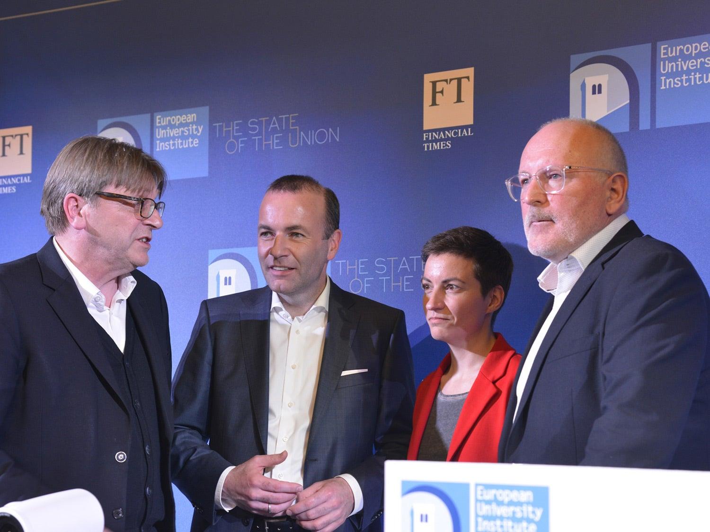 Spitzenkandidaten depois do debate: Guy Verhofstadt, Manfred Weber, Ska Keller e Frans Timmermans. Fonte: EUI
