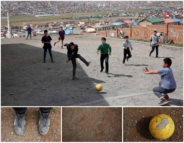 As imagens acima mostram um grupo de crianças a jogar futebol num campo improvisado em Bayanzurkh, distrito de Ulaanbaatar, capital da Mongólia. Foto: Rentsendorj Bazarsukh - Reuters