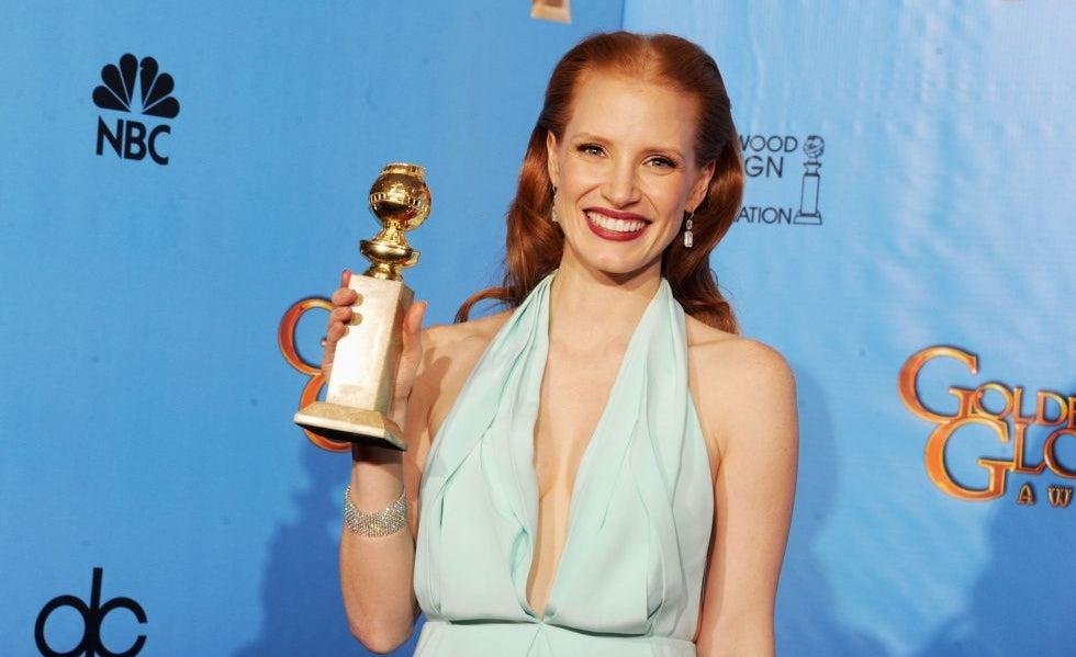 99fdf17047e Oscars 2013 Globos de Ouro  Jessica Chastain - Grandes Planos ...