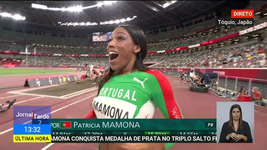 Jogos Olímpicos. O momento em que Patrícia Mamona conquista a medalha de prata