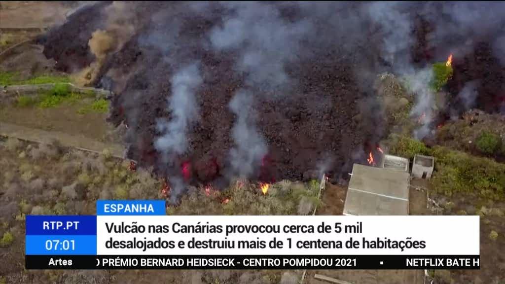 Canárias. Erupção de vulcão destruiu uma centena de casas