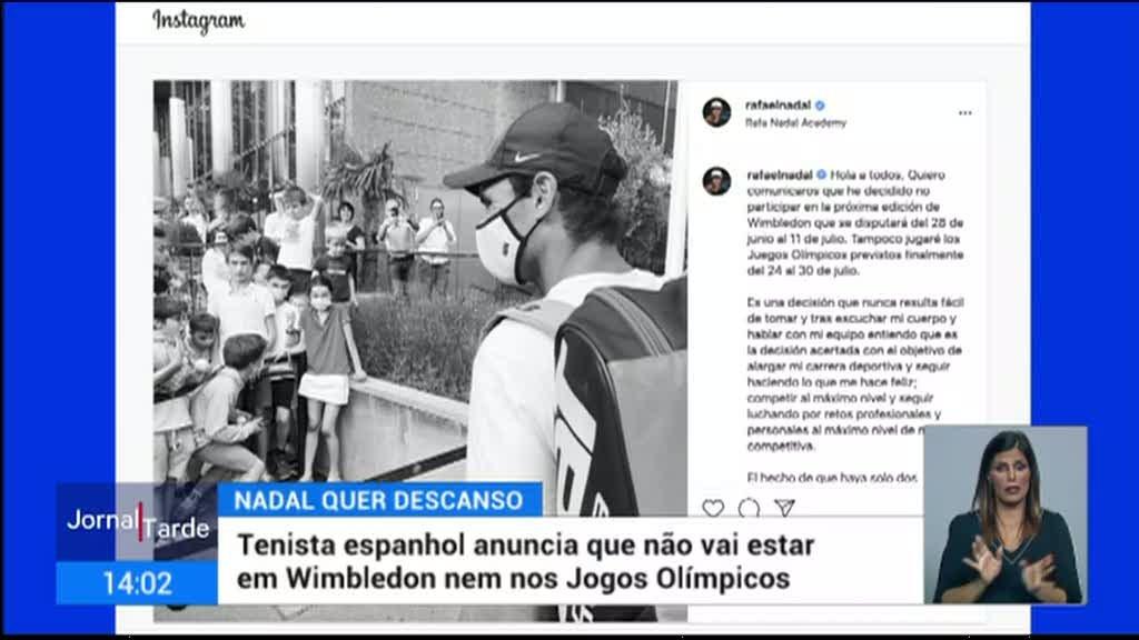 Rafael Nadal não vai participar no torneio de Wimbledon nem nos Jogos Olímpicos