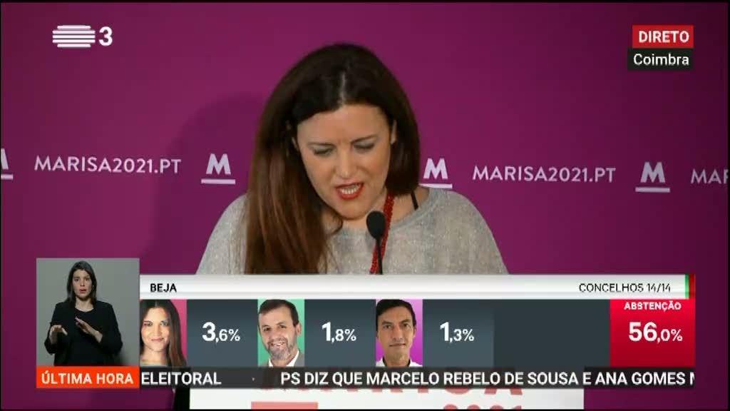 Marisa Matias admite que o resultado não foi positivo