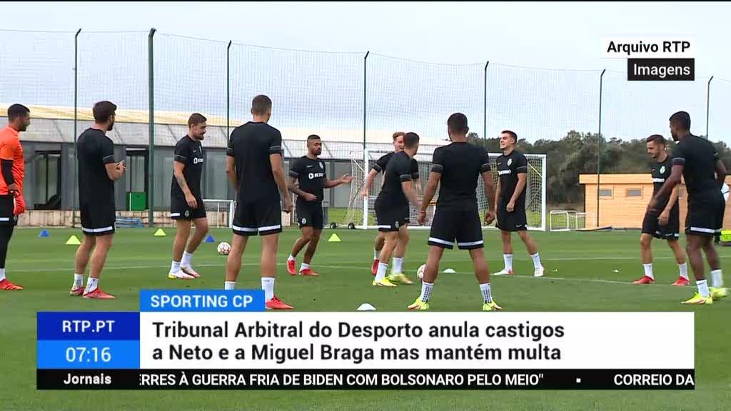 Tribunal Arbitral do Desporto anula castigos a Neto e a Miguel Braga mas mantém multa