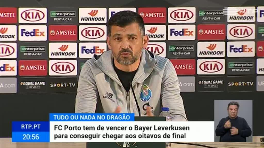 """Conceição promete FC Porto """"a um nível alto"""" para vencer Bayer Leverkusen"""