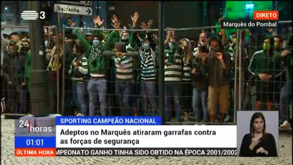 Adeptos no Marquês atiram garrafas contra a polícia