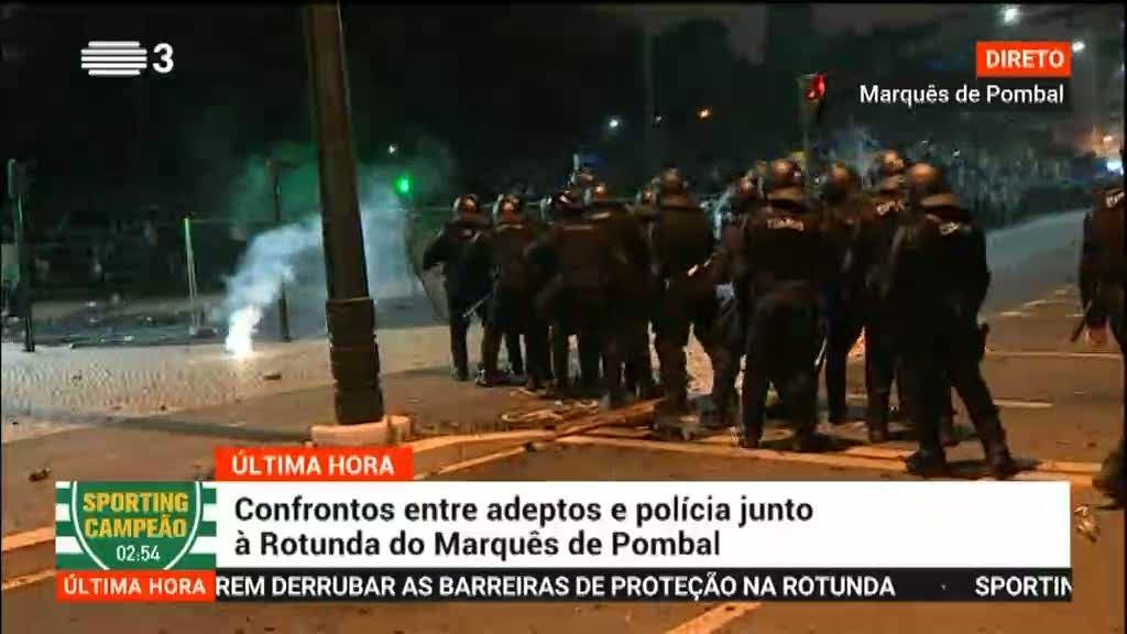 Confrontos entre adeptos e polícia junto à Rotunda do Marquês de Pombal