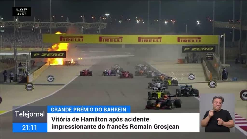 Despiste seguido de explosão e incêndio marca GP do Bahrein em F1