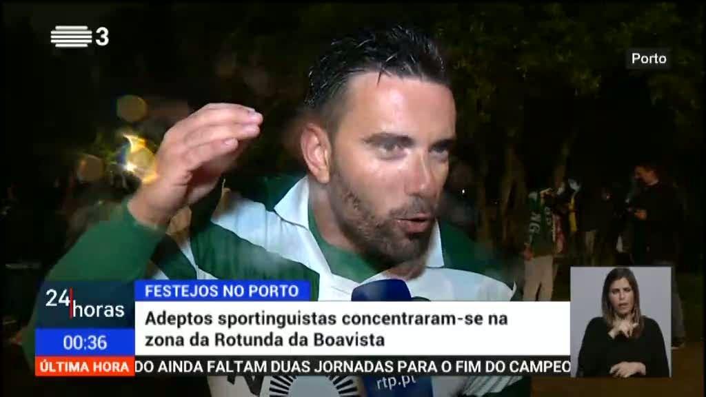 Adeptos do Sporting na cidade do Porto fazem a festa