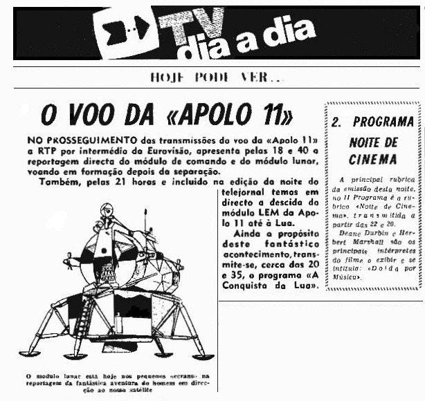 Programação para o dia 21 de julho de 1969