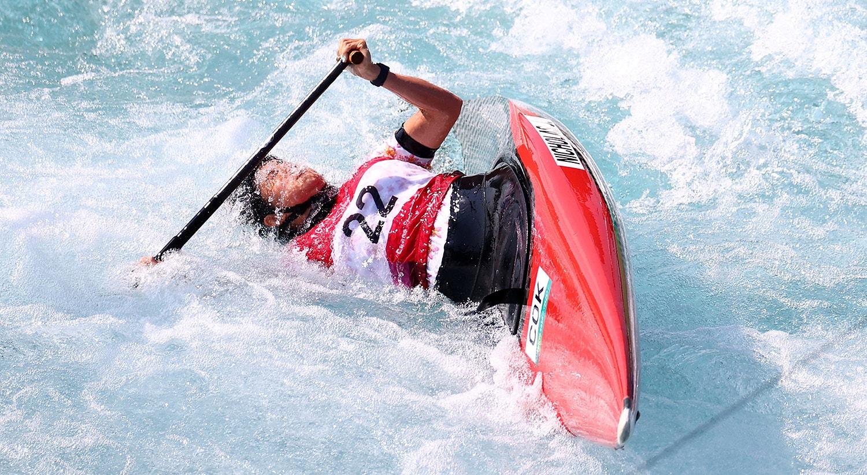 Canoagel Slalom - C1 feminino. Durante o aquecimento de Jane Nicholas das Ilhas Cook.   Foto: Yara Nardi - Reuters
