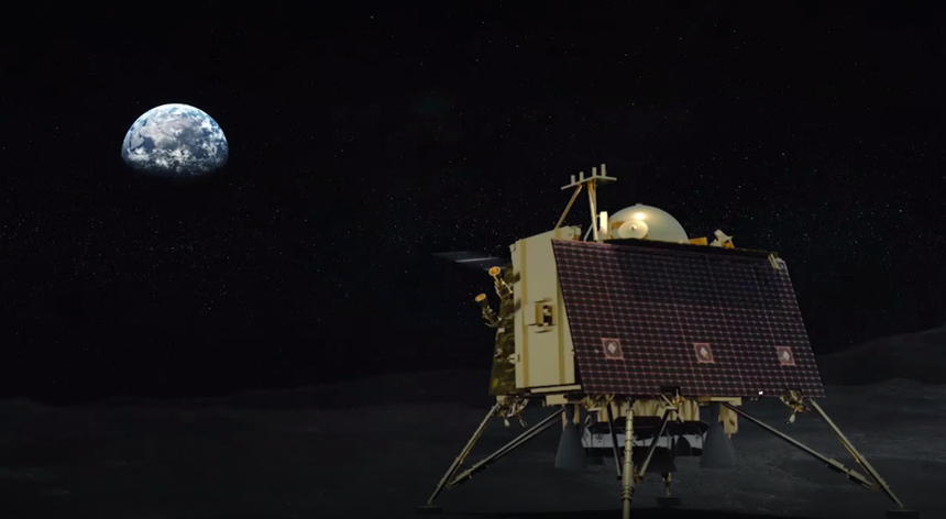 Interpretação artística do módulo Vikram na superfície lunar.