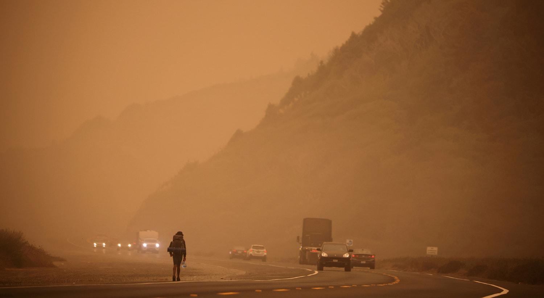 Redwood junto à costa do Oceano Pacífico enquanto o fumo dos incêndios cobre uma área perto de Orick, Califórnia | Carlos Barria/Reuters
