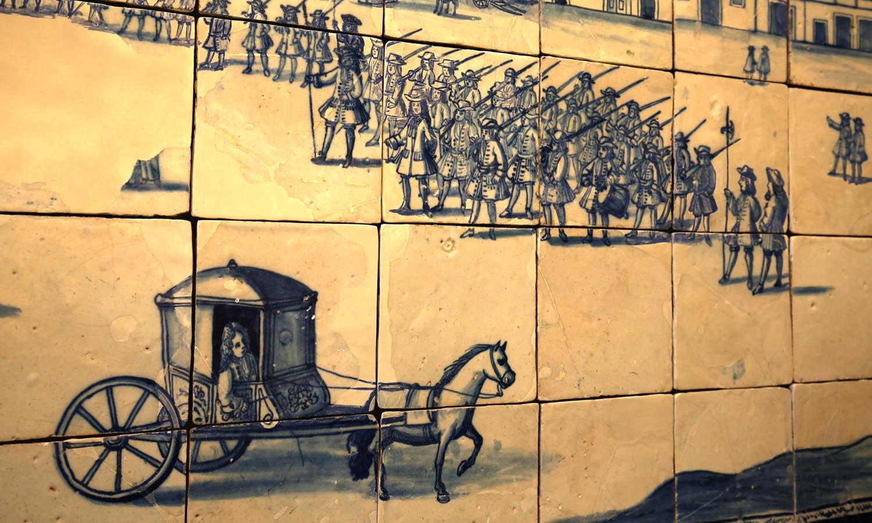 Sala Cidade do Mundo. Painel de azulejo da Praça do Comércio
