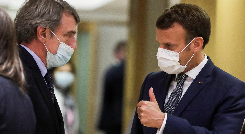 O presidente do Parlamento Europeu, David Sassoli e o Presidente francês Emmanuel Macron | Stephanie Lecocq - Reuters