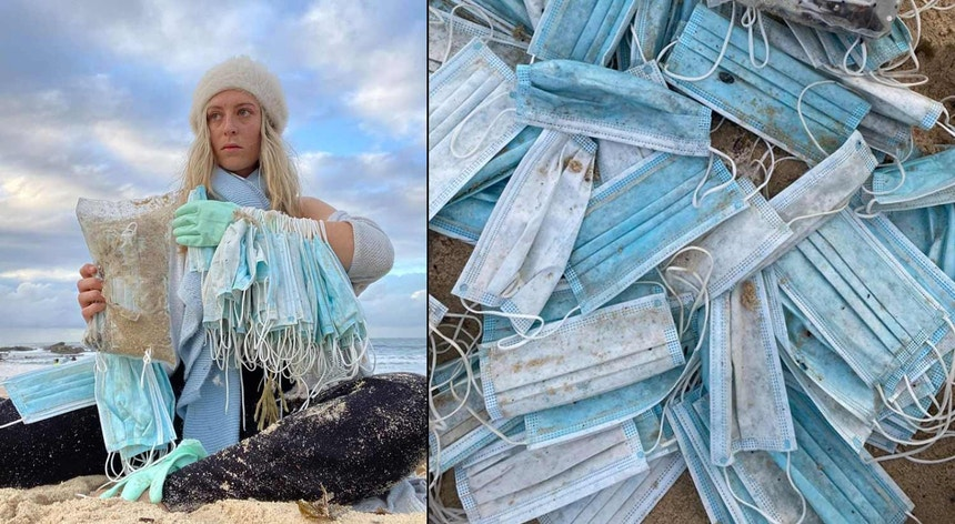 A australiana Alli Potts colocou no Facebook imagens das máscaras que deram à costa