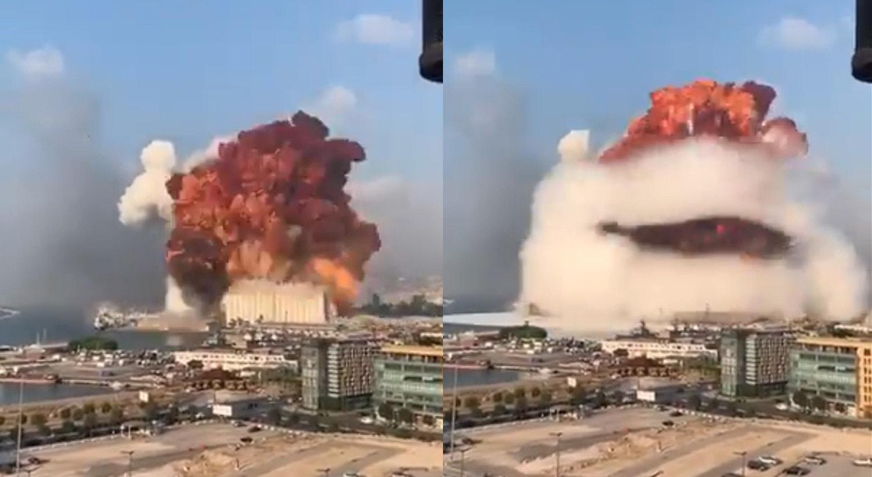 A explosão deu-se por volta das 18h00 na zona portuária da cidade.   Nader-Itayim - Twitter