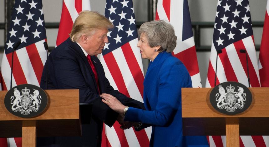 Donald Trump, Presidente dos EUA e Theresa May, primeira-ministra demissionária do Reino Unido