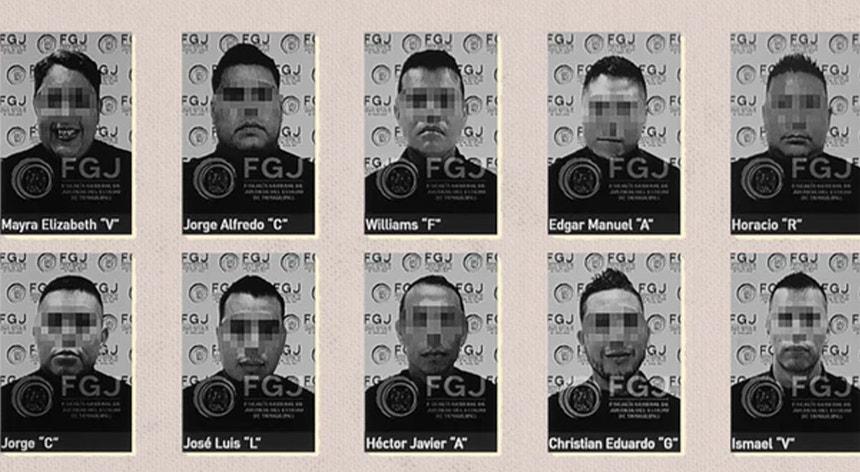 Dez dos 12 polícias acusados do massacre de 19 pessoas no México em 22 de janeiro de 2021.