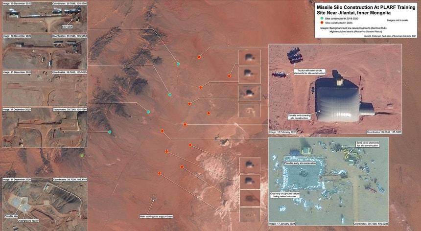As imagens revelam que estão em construção pelo menos 16 silos de mísseis num campo de exercícios a norte da China