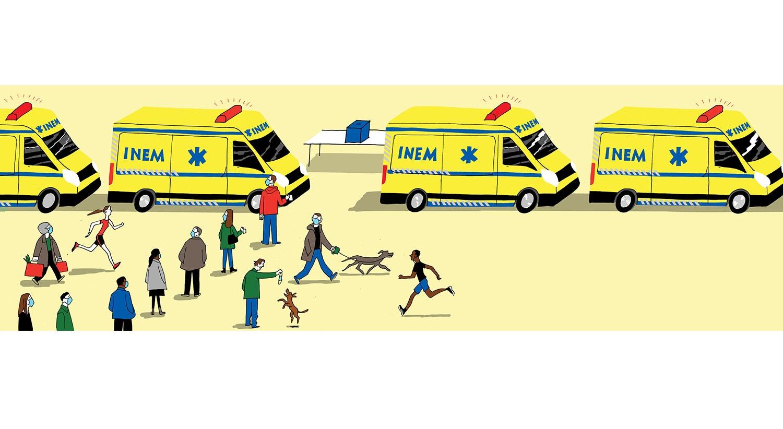 Cartoon de João Fazenda. Retrata a confusão destes dias: eleições presidenciais com votação antecipada no meio de um confinamento relaxado e de uma pandemia a acelerar.
