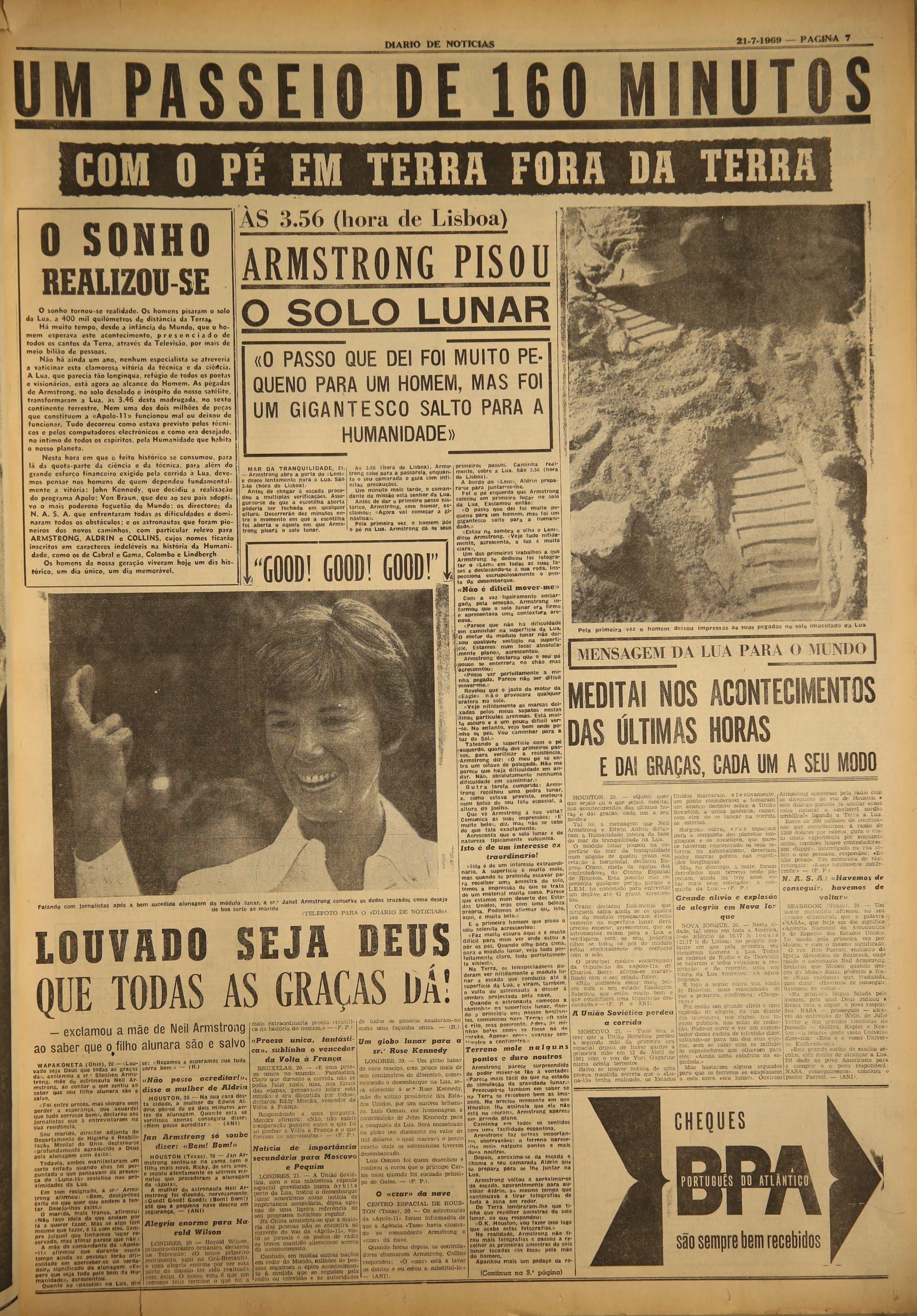 """Jornal """"Diário de Notícias"""" (21 julho 1969)"""