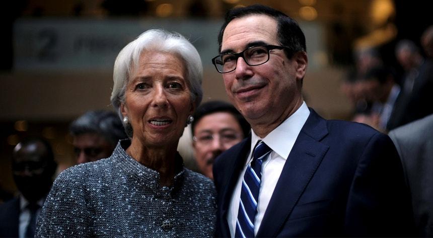 A presidente do BCE, Christine Lagarde, e o secretário do Tesouro norte-americano, Steven Mnuchin