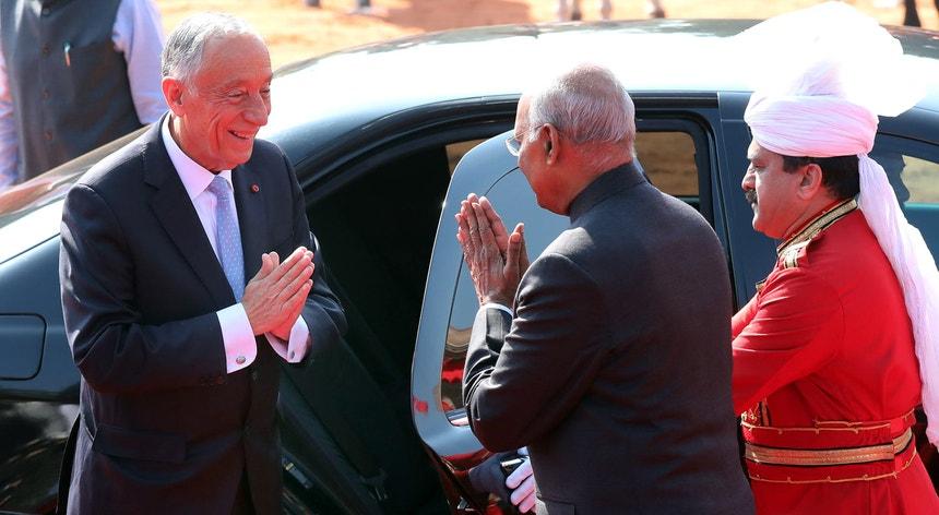 Marcelo Rebelo de Sousa foi recebido pelo seu homólogo Ram Nath Kovind no Palácio Presidencial, em Nova Deli
