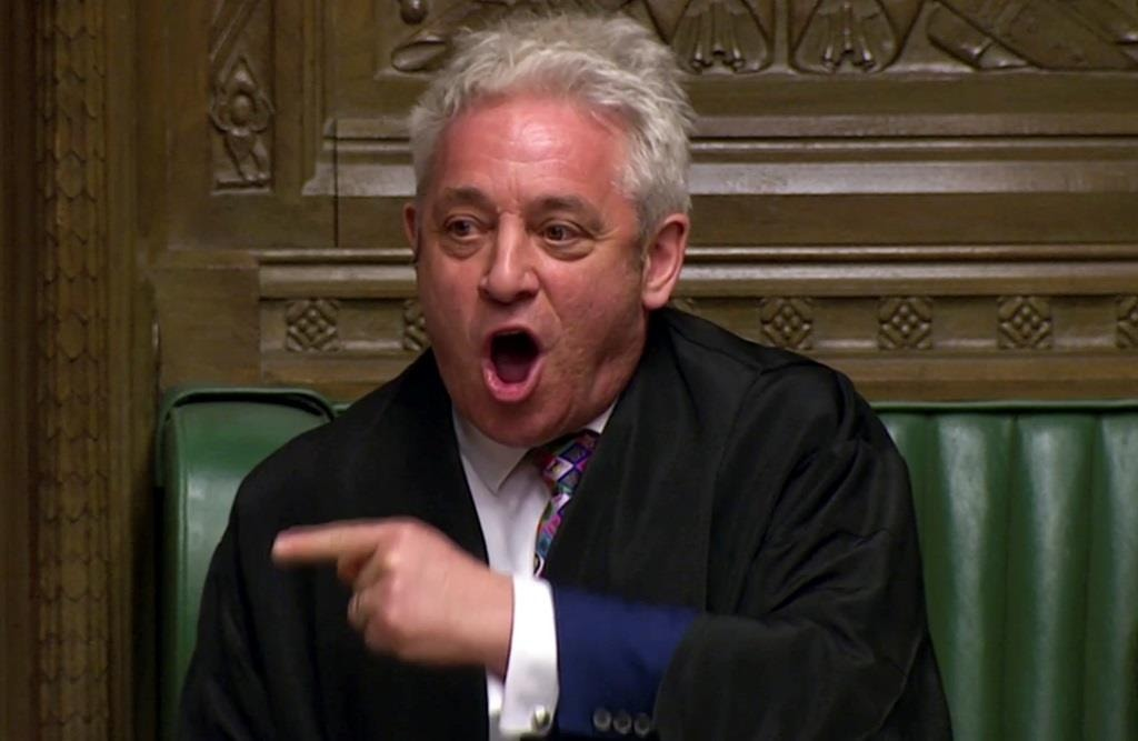 """O Presidente da Câmara dos Comuns, John Bercow,apela à """"ORDER"""" para poder anunciar os resultados da votação das opções alternativas ao Brexit no Parlamento de Londres. 27 março 2019. Reuters TV via REUTERS"""