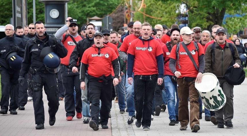 Manifestação neonazi em Chemnitz, em maio passado