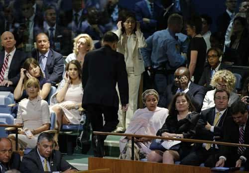 O embaixador da Coreia do Norte na ONU, Ja Song Nam, abandonou o seu lugar na Assembleia Geral minutos antes do Presidente norte-americano iniciar o seu discurso Foto: Reuters