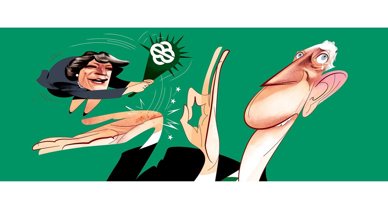 Humor mordaz do ilustrador André Carrilho, alusivo ao momento no debate em que Ana Gomes menciona a amizade de Marcelo a Ricardo Salgado