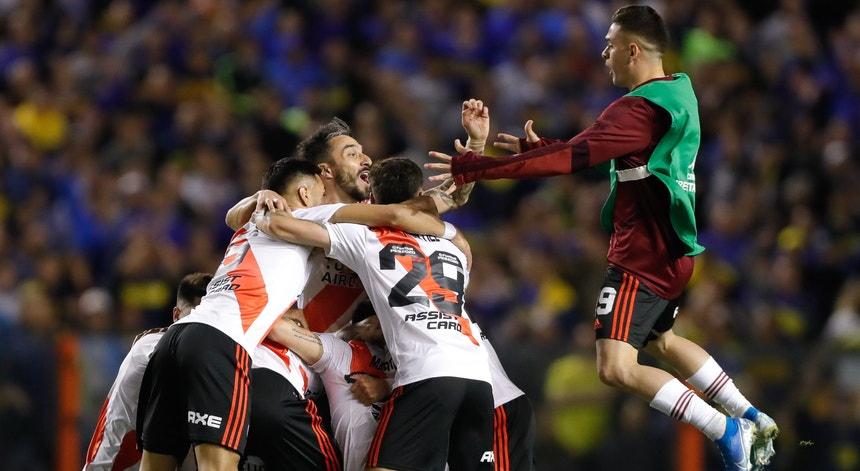 Os futebolistas do River Plate festejaram a passagem à final da Taça Libertadores