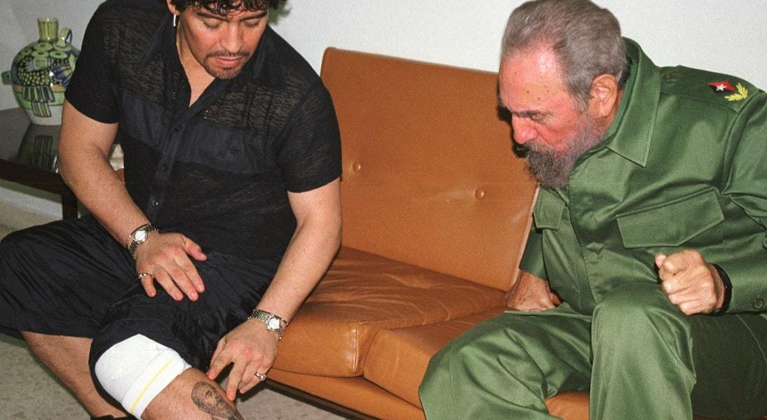 2001. Tatuagem na perna, com Fidel de Castro, Presidente de Cuba   Reuters
