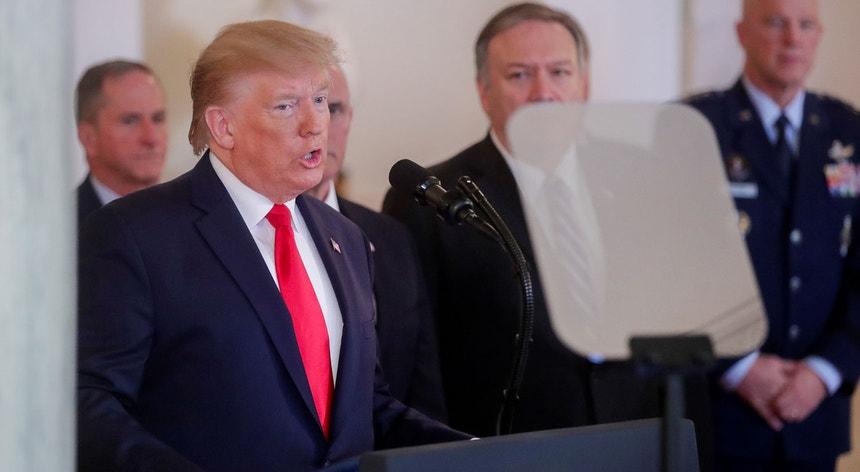 Donald Trump na conferência de imprensa esta tarde