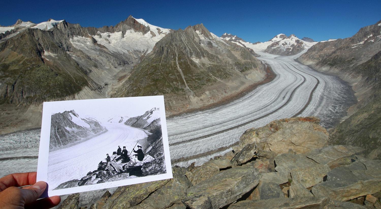 Glaciar Aletsch a 4 de setembro de 2019 em comparação com uma foto entre 1860 e 1890, na Suíça /Reuters