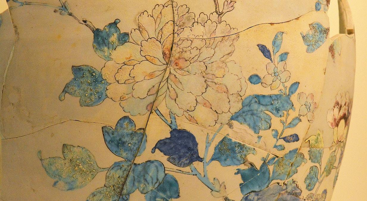 Pote de produção chinesa. Porcelana. Séc XVIII